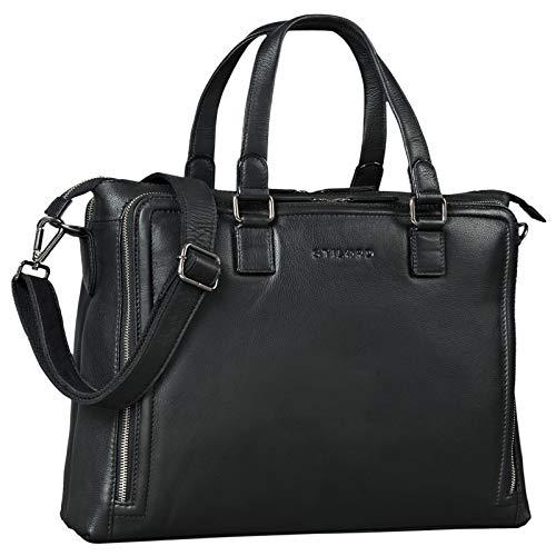 STILORD \'Claire\' Businesstasche Damen Leder 15 Zoll Laptoptasche DIN A4 Aktentasche Umhängetasche und Handtasche Büro, Farbe:schwarz
