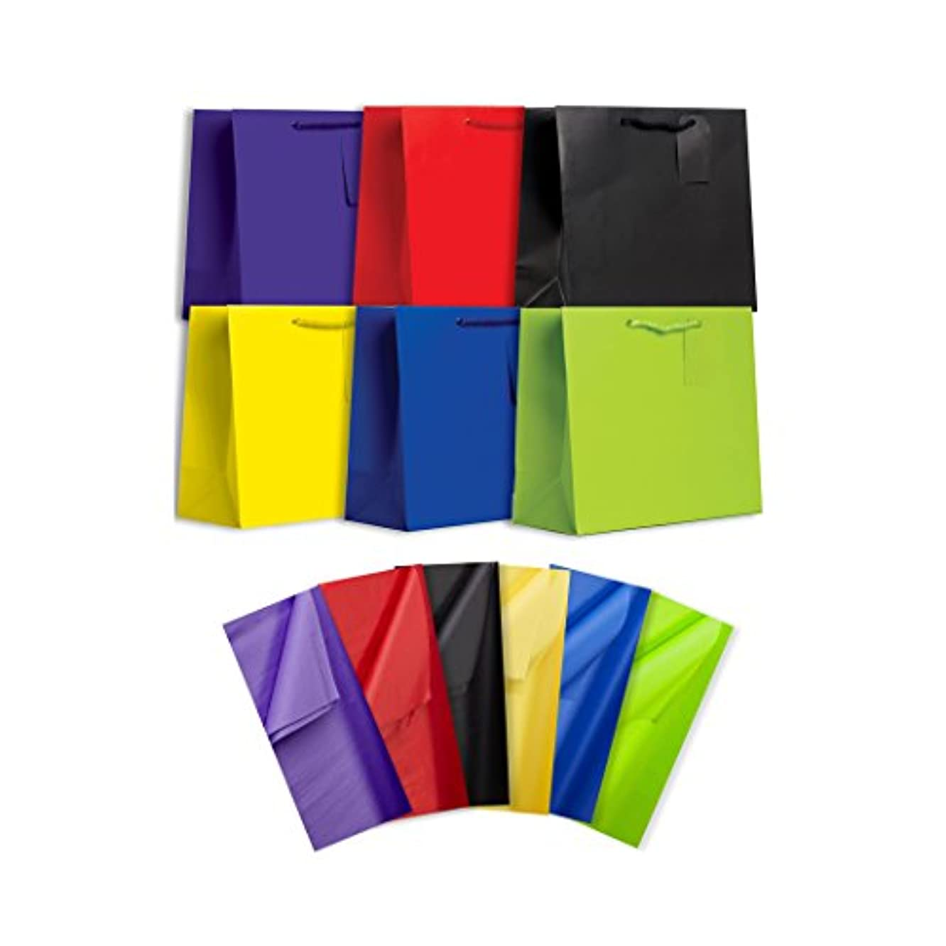 Jillson Roberts 6-Count Large All-Occasion Solid Color Gift Bags with Tissue Available in 4 Different Assortments, Perfectly Primary