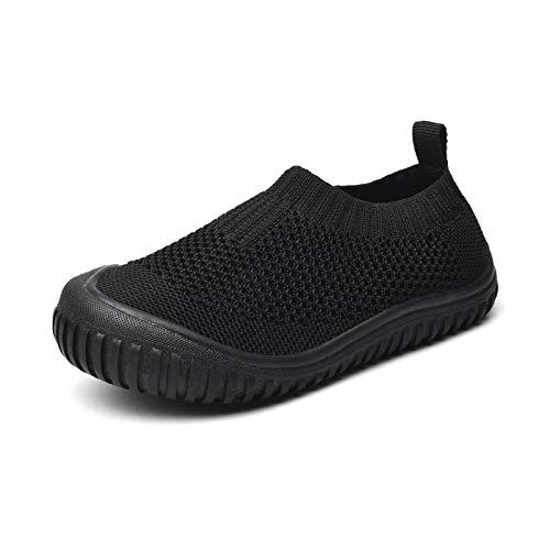 Runto Zapatillas de estar por casa para niños, unisex, suela antideslizante, para niños y niñas, color Negro, talla 21/22 EU