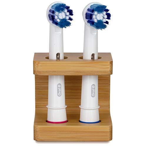 Portaspazzolino in bambù per testine spazzolino ORAL B. Senza plastica, eco friendly, porta testine fatto a mano per spazzolino elettrico. Supporto per due testine. Aiuta a salvare il pianeta.