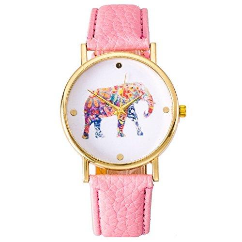 Orologio da polso da donna Hipster Elefant Fiori Festival modello analogico al quarzo oro rosa