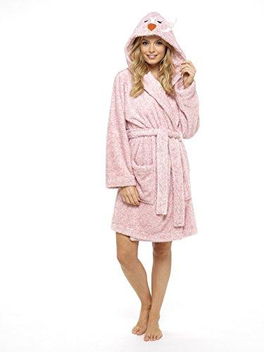 CityComfort Damen Morgenmantel Pinguin Eule Damen Kleider Plüsch Robe Neuheit Tier Kapuze Super Soft Touch Fleece Mit Kapuze Bademäntel...