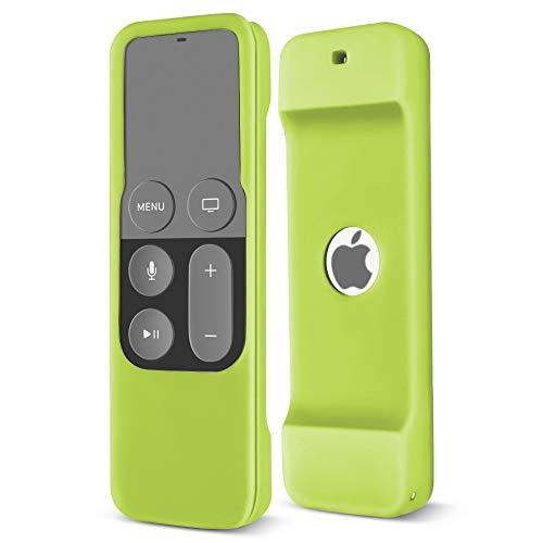 TNP Coque de protection légère et souple en silicone résistant aux chocs pour Apple TV 4K 64 Go/32 Go avec télécommande Siri Vert