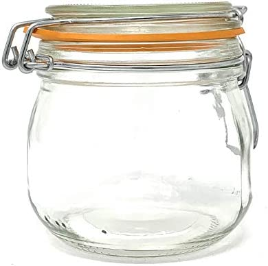 4 Pack 16 oz Pint 500 ml Glass French Canning Jars with Stainless Steel Wire Bail Airtight Jar product image