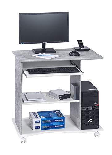 MAJA Möbel Mesa de Ordenador, Madera, Aspecto de hormigón, Color Blanco Liso, 80,00 x 50,00 x 75,00 cm
