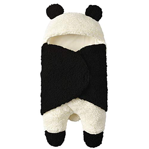 NANDAN Bebé Recién Nacido Invierno Manta De Sueño, Bolsa De Bebé Panda Gruesa Universal De Dormir Encapuchada Carrito De Dibujos Animados Pesebre Envuelto Lana Cálida Niños Y Niñas Saco De Dor