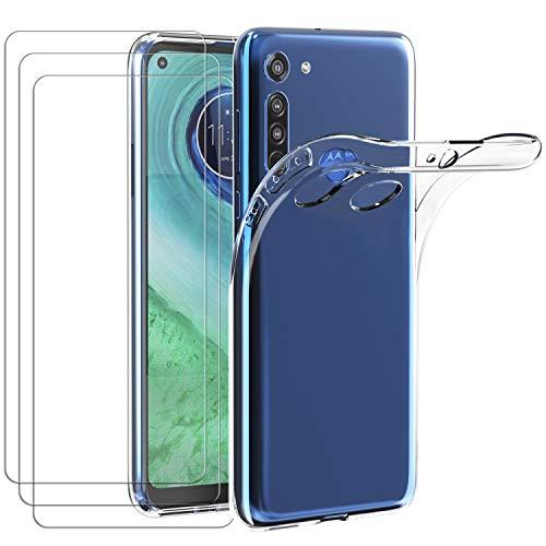 ivoler Hülle für Motorola Moto G8 + [3 Stück] Panzerglas, Durchsichtig Handyhülle Transparent Silikon TPU Schutzhülle Hülle Cover Premium 9H Hartglas Schutzfolie Glas für Motorola Moto G8