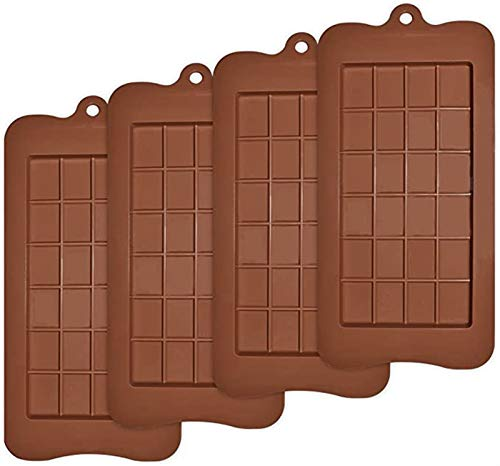Set of 4 Packs Food Grade Non-Stick Silicone Protein and Energy Bar Molds Break-Apart Chocolate Molds
