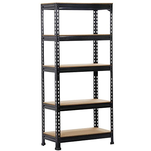 Yaheetech Black Adjustable 5-Shelf Shelving Unit Storage Rack Utility Rack Garage Shelves Display Rack Steel Boltless Rivet Rack,59.1 inches Height 1-Pack