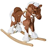 Qaba Kids Metal Plush Ride-On Rocking Horse Chair Toy with Realistic Sounds -...