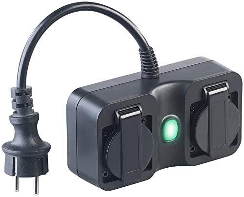 Luminea Home Control aussen Funksteckdosen: Outdoor-WLAN-2-fach-Steckdose komp. zu Amazon Alexa & Google Assistant (Steckdosen-Leiste)