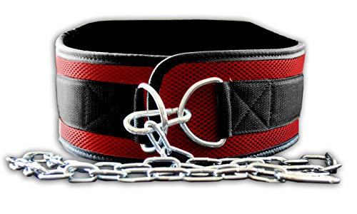 Fire Team Fit Weight Belt with Chain, Dip Belt for Weighted Pull Ups and Dips Red, Small (for Waist 40 Inches or Less)