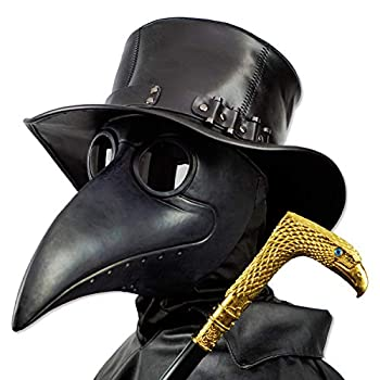 PartyHop Black Rubber Plague Doctor Mask Halloween Long Nose Bird Beek Steampunk Gas Latex Face Mask Party Cosplay Costume Prop for Kids and Adult