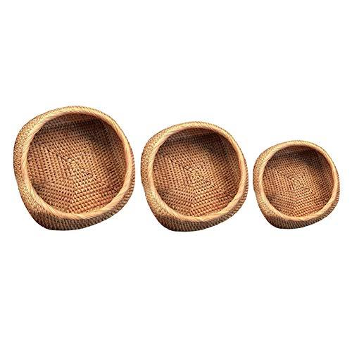 ZGHBZZY Cesta de mimbre para pan, cesta de frutas, cesta de almacenamiento, cesta tejida a mano, para alimentos, caja de almacenamiento de ratán, para pan hecho a mano, pasteles