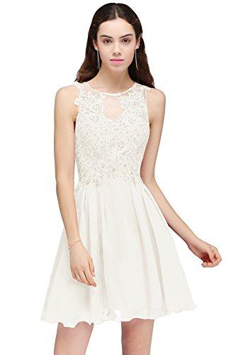 Babyonlinedress® Damen Elegant Spitzen Abendkleid Braujunfernkleid Ballkleid Perlstickerei Chiffonkleid Beige 32