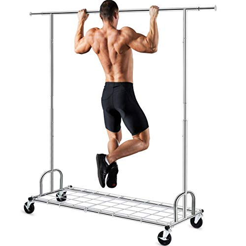 Clothing Garment Rack with Shelves Capacity 450 lbs Clothing Racks on Wheels Rolling Clothes Rack for Hanging Clothes Heavy Duty Portable Collapsible Commercial Garment Rack Chrome