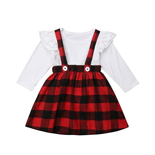 Geagodelia Vestido de Navidad para niña, diseño de cuadros rojos, vestido de...