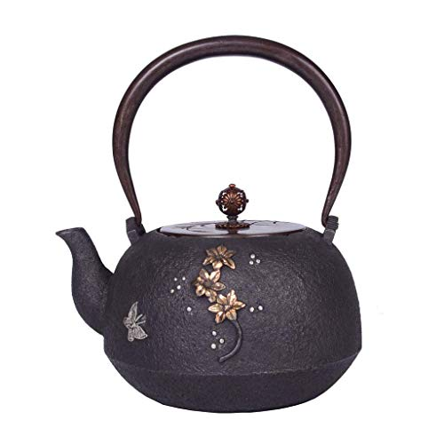 WZMFDC Infuser Teapot Ceramics Cast Iron Teapot Kettle Flat Bottom Stove Induction Cooker Kettle Tea Set 1.2L Ancient Capital Copper Handle/Pot Lid dongdong