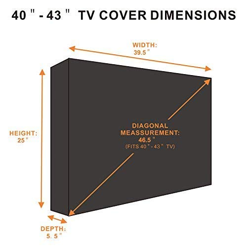Outdoor TV Cover 40'' - 43'' with Scratch Resistant Liner, New Design Bottom Seal, Weatherproof Universal Protector for LCD, LED, Plasma Television Sets, Built In Remote Controller Storage Pocket