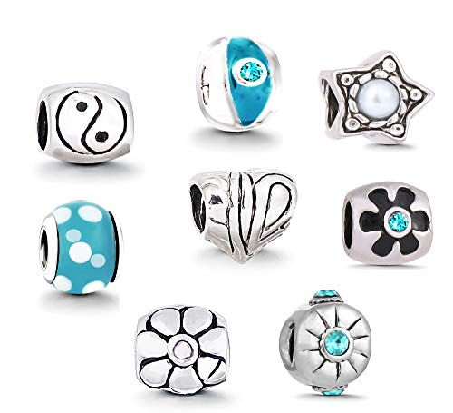 GERBERA Charms Bead für Armband - 8 Anhänger Starter Set Angebot Zirkonia Murano Glas bettel Pandora Style kompatibel Schmuck Türkis