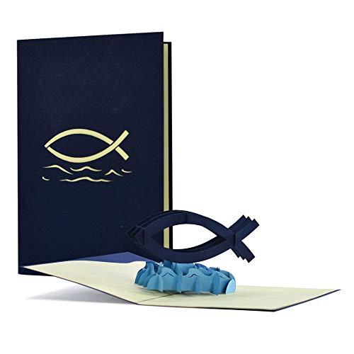 Kommunionkarte|Konfirmationskarte|3D Karte zur Kommunion Konfirmation Firmung| Glückwunschkarte zur Erstkommunion|Christliche Karte blau mit Fisch, C20