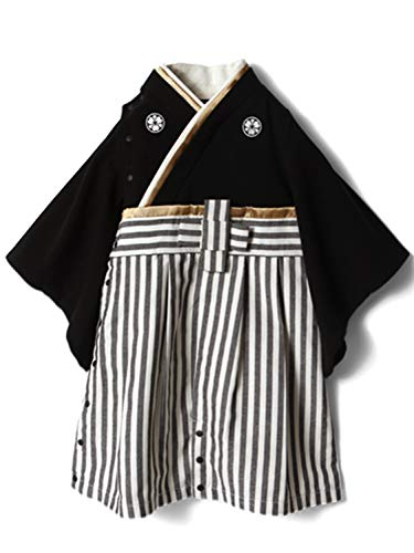 SweetMommy袴ロンパース家紋刺繍ベビー着物カバーオール十文字モチーフオーガニックコットン身頃縦縞ブラック80