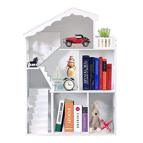 WODENY Libreria per casa delle Bambole, libreria per Bambini in Legno Bianco, per Bambini Bambini Ragazze Ragazzi
