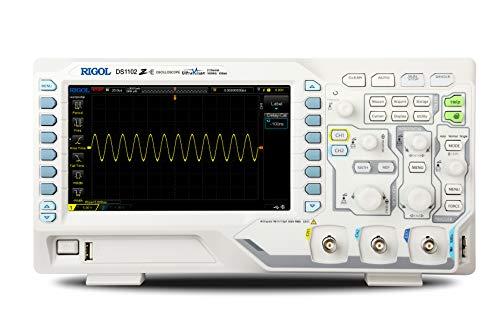 Rigol DS1102Z-E - Osciloscopio digital (2 canales, 100 MHz, 1 GSa/s, 24 Mpts, 8 bits, gatillo completo y decodificación de bus)