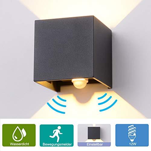 Elitlife 12W Wandleuchte Wandleuchte mit Bewegungsmelder, LED Wandleuchte Wasserdichte Außenwandleuchten Innen/Aussen Wandlampe Aluminium Wandleuchte,Anthrazit