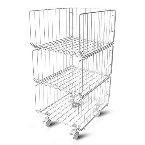 Metal Wire Baskets Wopulite Stackable 3-Tier Rolling Basket Utility Cart Storage Organizer Bins,Floor Standing Shelf with Wheels for Kitchen, Pantry, Closets, Bedrooms, Bathrooms