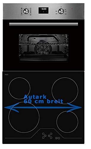 Einbauherd Set autark SCHOTT CERAN® Heißluft Grill Dsiplay Timer 60cm breit Edelstahl