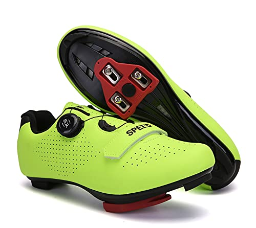 Mens Womens Road Bike Cycling Shoes, Riding Spinning Shoes Compatible Peloton Bike Shoes with Look ARC Delta Cleats Perfect for Indoor Outdoor (Green, M7.5)