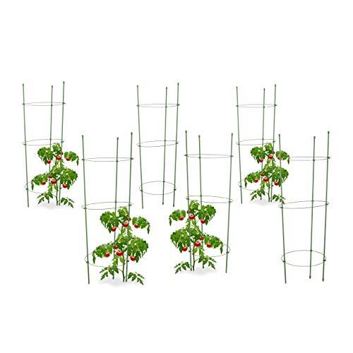 Relaxdays 6X Rankhilfe Tomaten im Set, Höhenverstellbare Ringe, Pflanzstäbe, Balkon, Beet, Kunststoff, 76 cm lang, Grün