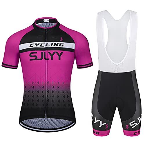 Hombres Jersey + Pantalones Cortos Mangas Cortas de Ciclismo Ropa Maillot Transpirable para Deportes al Aire Libre Ciclo Bicicleta(Size:Pequeña,Color:Rosa)
