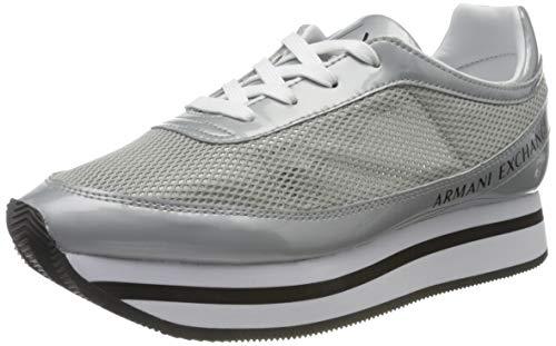 ARMANI EXCHANGE Sneaker V314, Scarpe da Ginnastica Basse Donna, Argento (Silver 00077), 41 EU