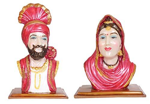 BS Handicrafts Polystone Pujabi Cultural Men Women Couple Face Statue   Punjabi Culture showpiece for Home   Punjabi Couple Statue Showpiece Idol (Height 11 inch)