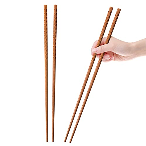 16.5 Inches Cooking Chopsticks, 2 Pairs Wooden Long Chop Sticks Reusable for Noodles Frying Hotpot, Japanese Extra Long Anti-Slip Chopsticks
