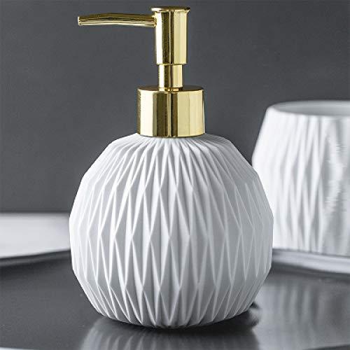 ZJMIQT zeepdispenser, vloeibare zeep witte keramiek badkamer shampoo en douchegel fles met roestvrij staal type gouden kop indrukken