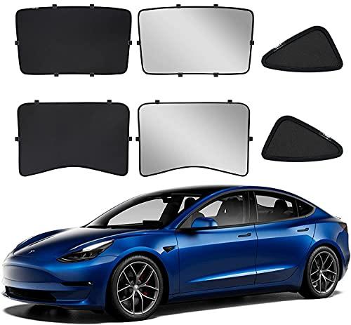 Tesla Model 3 Parasol de Coche, Parasol de Techo de Cristal Plegable,...