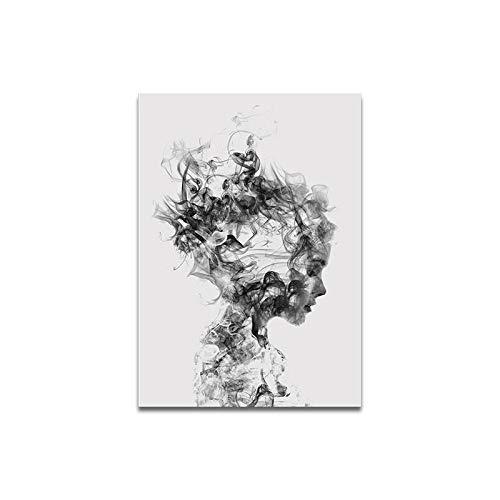 Personalidad Abstracta fumada Personaje de Chica Masculina Pintura Decorativa Sala de Estar Pintura al óleo Pintura Colgante Q 30 * 40 cm
