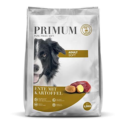 Primum | 1,5 kg | Halbfeuchtes Trockenfutter für Hunde | getreidefrei | Soft Ente mit Kartoffel | Extra viel Fleisch | Optimal verdaulich | Herstellung in Deutschland