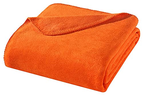 WOHNWOHL Kuscheldecke 150x200cm • weiche Tagesdecke • Sofadecke • Wohndecke • Schlafdecke • Ökotex Zertifizierte Baumwolldecke • Farbe: Orange