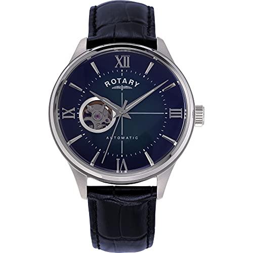 Rotary Reloj automático para hombre de 42 mm con pantalla analógica y correa de piel azul GS00375/05.