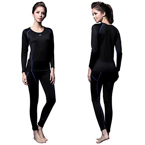 FITEXTREME Womens MAXHEAT Fleece Long Johns Thermal Underwear Set Black L