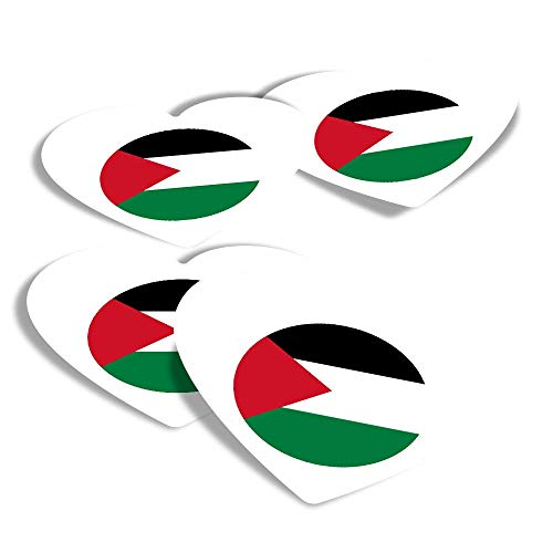Vinyl Heart Stickers (Set of 4) - Palestine East Jerusalem Travel Fun Decals for Laptops,Tablets,Luggage,Scrap Booking,Fridges #9162