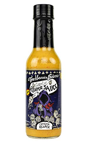 Torchbearer Sauces Garlic Reaper Sauce 5 ounces  Carolina Reaper Peppers  All Natural Vegan ExtractFree Made in USA and Featured on Hot Ones