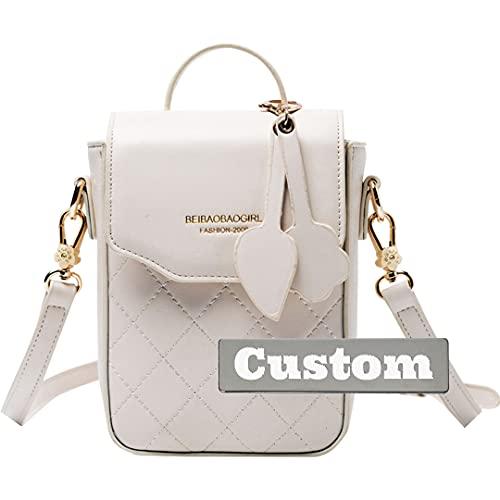 ZZMGDAM Bolso pequeño personalizado con nombre personalizado barato azul marino Crossbody de cuero mini monedero de moda (color : blanco, tamaño: talla única)