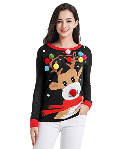 v28 Varied Ugly Christmas Sweater for Women Merry Reindeer Shirt Knit Sweaters(Large, Colorful Deer Black)