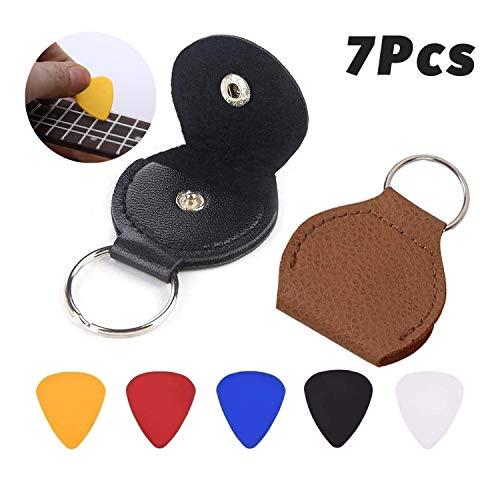 JZZJ 2 Stück Leder Plektrum Halter Schlüsselanhänger und 5 Stück 0,46 mm Bunte Zelluloid Material Gitarre Plektren