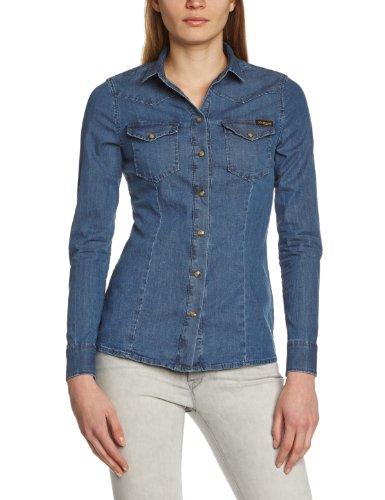 True Religion Damen Slim Fit Hemd, Danielle Shirt Einfarbig, Gr. S (Herstellergröße: Small), Blau